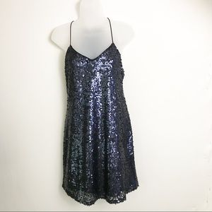 Express navy Blue Sequin Halter Dress